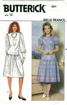 Butterick 4831 BELLE FRANCE Misses Dress Size 12