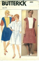 Butterick 4853 Misses Dropped Waist Dress Size 10 - Bust 32 1/2