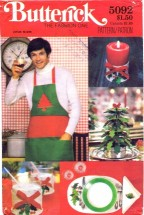 Butterick 5092 Christmas Placemats Napkins Candle Holder Tree Apron
