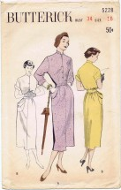 Vintage 1950's Butterick 5228 Tailored Shirtwaist Bloused Back Dress