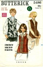 Butterick 5486 Vintage Sewing Patterns Misses Sleeveless Jacket Size 12 - Bust 34