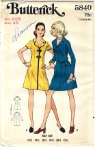 Butterick 5840 One-Piece Dress Size 20 1/2