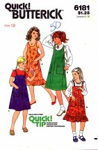 Vintage 1970's Girls Flared Jumper Size 12 Butterick 6181 Sewing Pattern