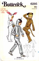 Butterick 6295 Vintage Sewing Pattern Bunny Leopard Spaceman Costume Size 12