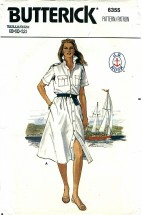 Butterick 6355 Front Buttoned Dress Size 8 - 12 - Bust 31 1/2 - 34
