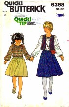 Butterick 6368 Girls Blouse Reversible Vest Skirt Size 8