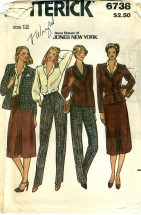 Butterick 6738 Jacket Blouse Skirt Pants Size 12 - Bust 34