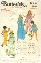 Butterick 6885 Robe Nightgown Pajamas Size 10