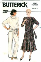Butterick 6947 Misses Top Skirt Pants Size 8 - 12
