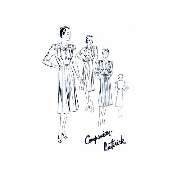 1930s Misses Triad Frock Tucked Dress Butterick 8220 Vintage Sewing Pattern Bust 36