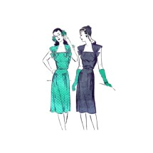 1940s Missed Day or Evening Dress Butterick 3046 Vintage Sewing Pattern Size 12 Bust 30