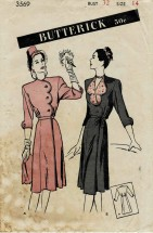 1940s Misses Scalloped Side-Wrap Dress Butterick 3569 Vintage Sewing Pattern Size 14 Bust 32