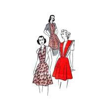 1940s Misses Halter Neckline Surplice Apron Butterick 4686 Vintage Sewing Pattern