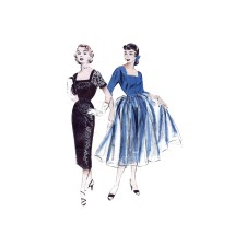 1950s Misses Cocktail Dress with Overskirt Slip for Lace Version Butterick 6714 Vintage Sewing Pattern Size 14 Bust 32