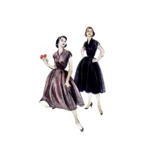 1950s Misses Shawl Collar Shirred Sleeves Full Skirt Dress Butterick 6935 Vintage Sewing Pattern Size 14