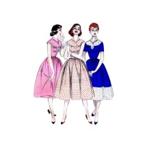 1950s Misses Full Skirt Dress Butterick 7238 Vintage Sewing Pattern Size 14 Bust 32