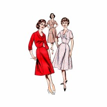 1960s Misses V-Neckline Flared Dress Butterick 9335 Vintage Sewing Pattern Size 14