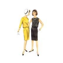 1960s Junior Misses Blouson Dress Butterick 3251 Vintage Sewing Pattern Size 9