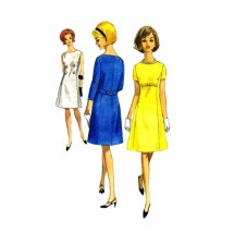 1960s Misses Semi Fitted Aline Dress Butterick 4076 Vintage Sewing Pattern Size 14 Bust 34