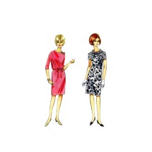1960s Misses Jewel Neck Dress Butterick 4096 Vintage Sewing Pattern Size 18 1/2