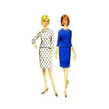1960s Misses Blouse Skirt Two Piece Dress Butterick 4141 Vintage Sewing Pattern Size 14