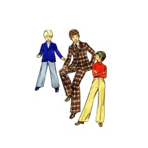 1970s Boys Blazer Jacket Fit and Flare Pants Butterick 6962 Vintage Sewing Pattern Size 7 Chest 26