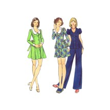 1970s Young Junior Teen Dress Top Skirt Pants Butterick 3015 Vintage Sewing Pattern Size 5/6