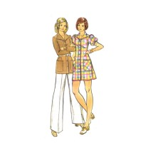 1970s Misses Mini Dress Tunic Pants Butterick 3033 Vintage Sewing Pattern Size 16 Bust 38