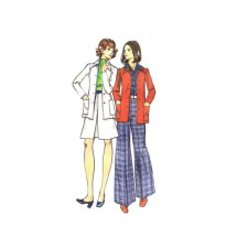 1970s Misses Princess Seam Jacket A-line Skirt Flared Pants Butterick 3039 Vintage Sewing Pattern Size 16 Bust 38
