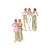 1970s Misses Halter Top Skirt Pants Shorts Stole Butterick 3156 Vintage Sewing Pattern Size 12 Bust 34