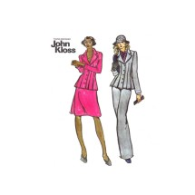 1970s John Kloss Pleated Top Skirt Straight Leg Pants Butterick 3399 Vintage Sewing Pattern Size 16 Bust 38