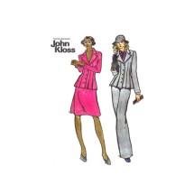 1970s John Kloss Pleated Top Skirt Straight Leg Pants Butterick 3399 Vintage Sewing Pattern Size 16 Bust 38