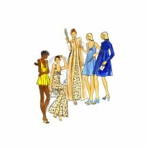 1970s John Kloss Nightgown Baby Doll Bikini Panties Robe Butterick 3405 Vintage Sewing Pattern Size 10 Bust 32 1/2