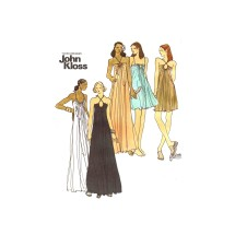 1970s John Kloss Evening Gown Dress Nightgown Butterick 3407 Vintage Sewing Pattern Size 6