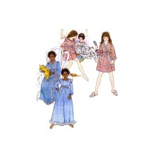 1970s Girls Nightgown Pajamas Robe Butterick 3409 Vintage Sewing Pattern Size 12 Breast 30