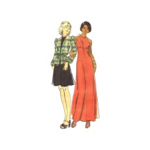 1970s Junior Misses Flared Halter Evening Dress and Top Butterick 3430 Vintage Sewing Pattern Size 13 Bust 35