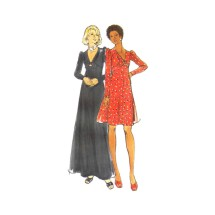 1970s Misses Deep V-Neckline Flared High Waist Dress Butterick 3433 Vintage Sewing Pattern Size 14 Bust 36