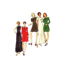 1970s Misses Empire Waist Flared Dress Evening Length Butterick 3434 Vintage Sewing Pattern Size 12 Bust 34