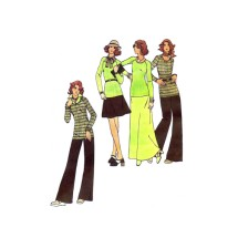 1970s Misses Sweater Skirt Pants Butterick 3441 Vintage Sewing Pattern Size 8 Bust 31 1/2