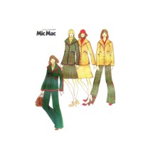 1970s Mic Mac Shawl Collar Jacket Skirt Straight Leg Pants Butterick 3444 Vintage Sewing Pattern Size 14 Bust 36