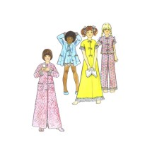 1970s Girls Robe Nightgown Pajamas Butterick 3452 Vintage Sewing Pattern Size 14 Breast 32