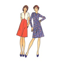 1970s Misses Semi-Fitted Dress Butterick 3467 Vintage Sewing Pattern Half Size 12 1/2 Bust 35