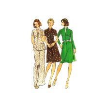 1970s Misses Dress Top Pants Butterick 3475 Vintage Sewing Pattern Size 14 1/2 Bust 37