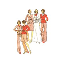 1970s Womens Jacket Skirt Pants Butterick 3510 Vintage Sewing Pattern Half Size 20 1/2 Bust 43