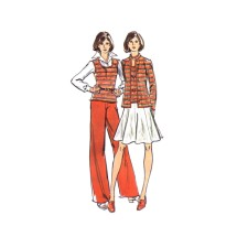 1970s Misses Sweater Vest Skirt Pants Butterick 3539 Vintage Sewing Pattern Size 16 Bust 38