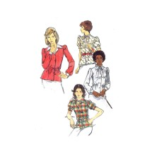 1970s Misses Semi-Fitted Front Button Blouses Butterick 3588 Vintage Sewing Pattern Size 16 Bust 38