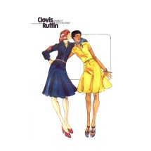 1970s Clovis Ruffin Drop Waist Fit and Flared Dress Butterick 3610 Vintage Sewing Pattern Size 14