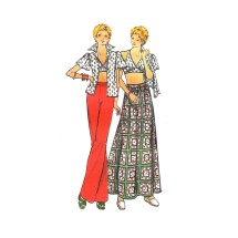 1970s Misses Blouse Halter Top Skirt Pants Butterick 3700 Vintage Sewing Pattern Size 8