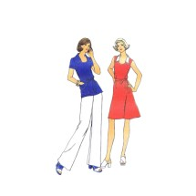 1970s Misses Dress Top Pants Butterick 3714 Vintage Sewing Pattern Size 14 Bust 36