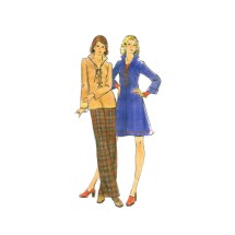 1970s Misses Laced Up Dress or Top Straight Leg Pants Butterick 3806 Vintage Sewing Pattern Size 14 Bust 36